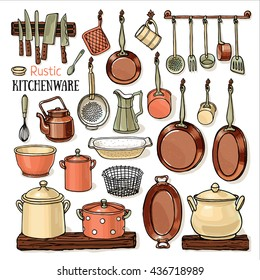 Many pans hanging in a rustic kitchen. Vector sketchy collection with pots, frying-pans, knifes, teapot isolated on white background