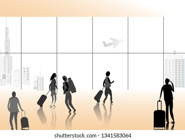 Many people at airport terminal background