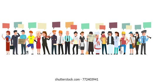 many people of different professions are talking. vector illustration in a simple flat style.