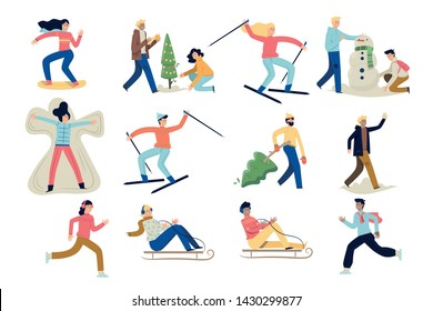 Many people dressed in different clothes do their own thing and do different things. They are dressing up a Christmas tree, skiing, making a snowman, snowboarding, chopping a Christmas tree, riding.