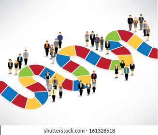 Many people finding way and solution conceptual vector design