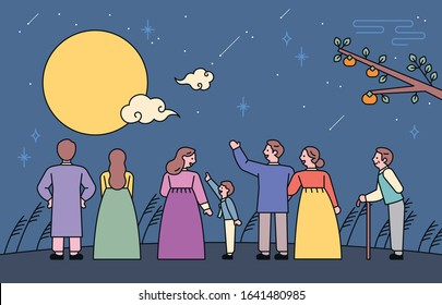 Many people in Korean traditional clothes are watching the big full moon in the night sky. flat design style minimal vector illustration.