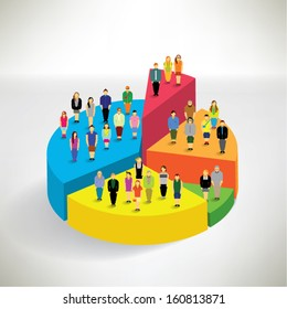 Many people standing on pie chart conceptual vector design