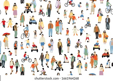Many  people vector illustration . Group of male and female adult and children cartoon characters ,