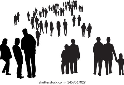 many people walking silhouette vector