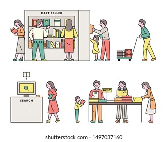 Many people who use the library. flat design style minimal vector illustration.