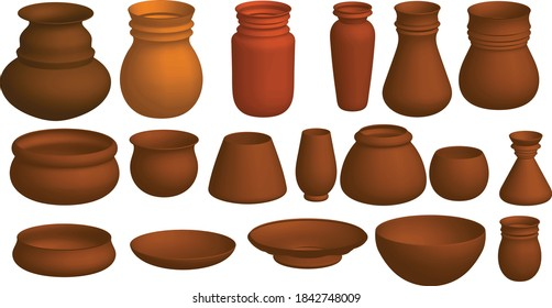 Many pieces of art pottery mud models
