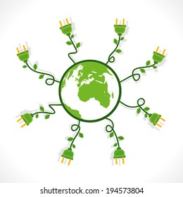 many plug out from the green earth concept vector
