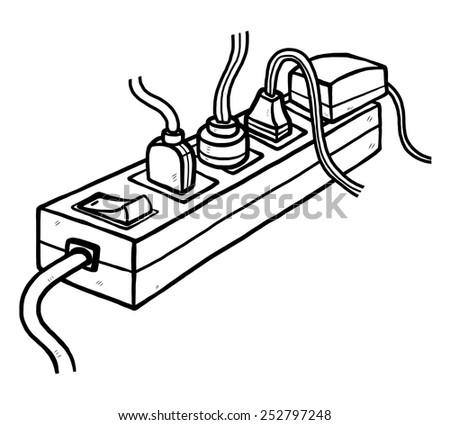 Many Plugs Electric Socket Cartoon Vector Stock Vector Royalty Free