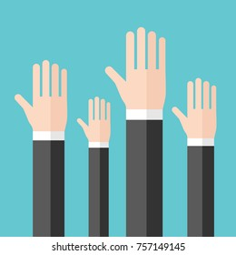 Many raised hands of businessmen on turquoise blue background. Voting, choice and volunteering concept. Flat design. Vector illustration, no transparency, no gradients