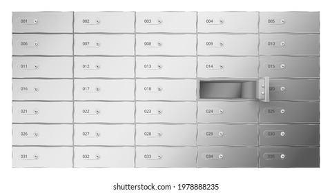Many realistic safety deposit boxes vector illustration. Banking confidential armor metal containers with lock isolated. Depository private protection archive storage with open door. Security system