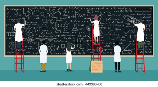 Many scientists are thinking and writing on the blackboard.