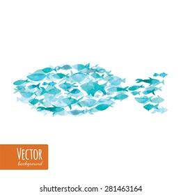 Many sea blue ocean fishes together as symbol of teamwork. Vector watercolor fish on light background. Blue watercolor background. There is place for your text.