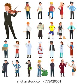 many simple characters of different professions. vector illustration in a flat style.