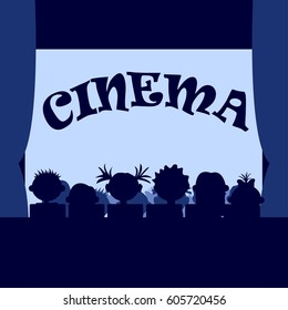 Many small kids in the cinema, sitting in a row, silhouettes.
