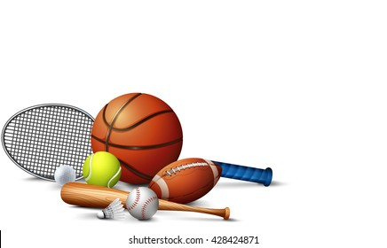 Many sport equipments on the floor illustration