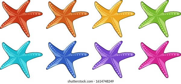 Many starfish in different colors illustration