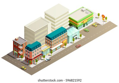 Many storeyed urban store buildings in street with few cars isometric concept on white background vector illustration