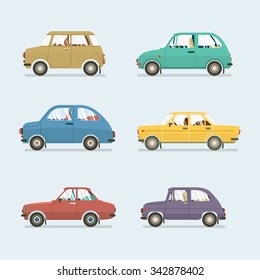 Many Style's Of Cars Side View Vector Illustration