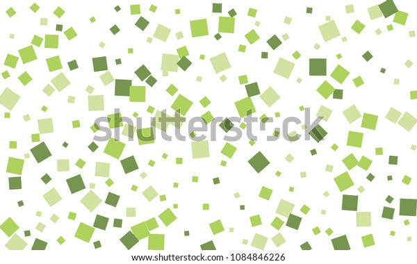 Many Stylish, Modern and Nice Looking Green Confetti of Different Size on White Background