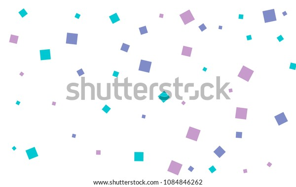 Many Stylish, Modern and Nice Looking Blue and Violet Confetti of Different Size on White Background
