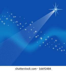 many tiny stars, waves and one big star, christmas or advent background