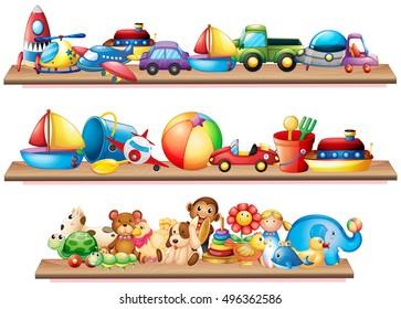 Many toys on wooden shelves illustration
