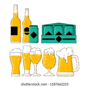 Many type of beer in the different glasses and many cans