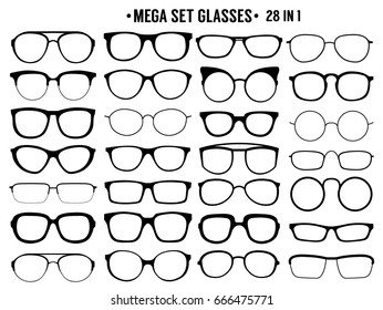 . Many types of glasses. Fashion collection.