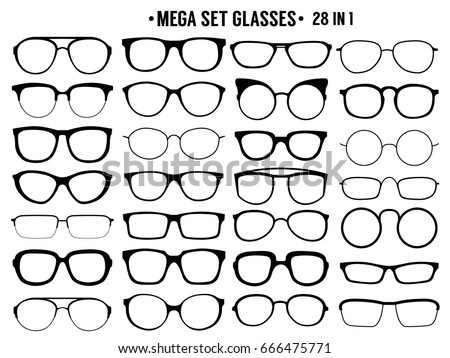 2a3ce60d81f Many Types Glasses Fashion Collection Stock Vector (Royalty Free ...