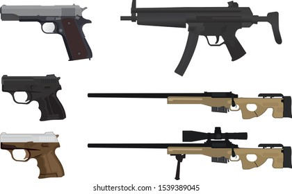 Many types of guns on a white background vector
