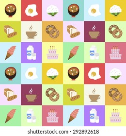 Many vector colorful Icons, milk, egg, rice, bread, birthday cake, donuts, ice-cream, coffee, doenjang soup(bean paste soup) for food, vegetable symbol, icon, pattern, background.