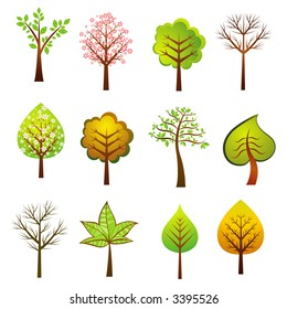 Many vector trees on the white background, vector illustration