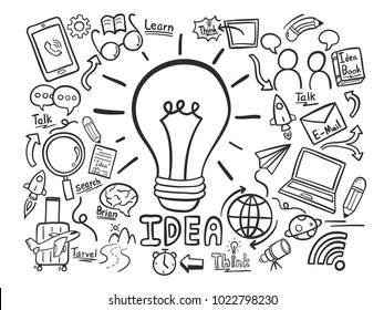 The many ways to find ideas like travel, learning, or the internet. doodle hand draw. vector illustration.
