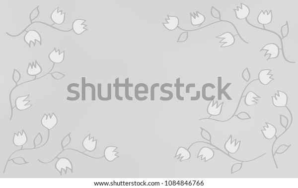Many White Flowers with Leaves and Stems on Light Grey Gradient Background
