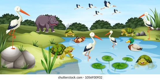 Many wild animals in the pond illustration