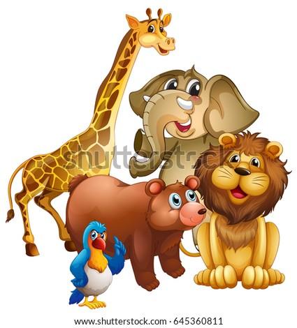 Many Wild Animals Zoo Illustration Stock Vector (Royalty
