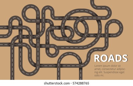 Many winding roads in modern flat design. Vector illustration can used for web banners or info graphic.