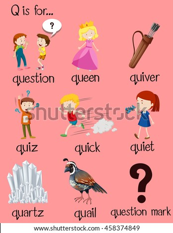 3ab2431a03e87 Many Words Begin Letter Q Illustration Stock Vector (Royalty Free ...