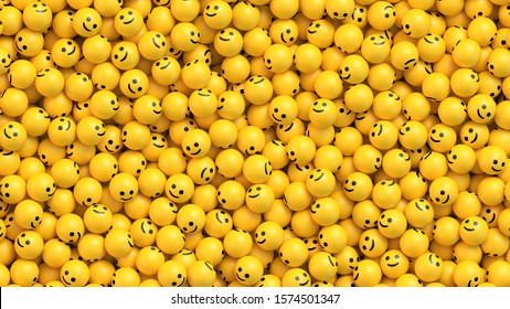 Many yellow balls with smiling faces. Social media and communications concept vector background
