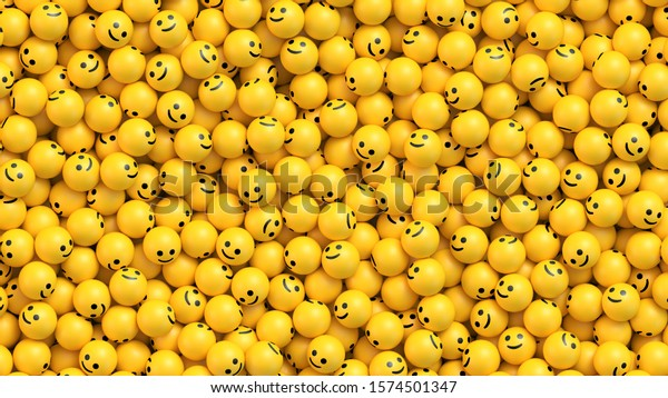 Muchas bolas amarillas con caras sonrientes. Antecedentes vectoriales de los medios sociales y las comunicaciones