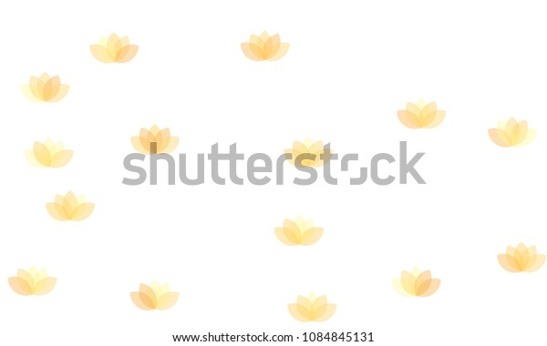 Many Yellow Lotuses of Different Opacity on White Background