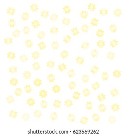 Many Yellow Sunflowers of Various Opacity on White Background