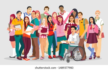 Many young people with gadgets and backpacks. University students. Vector illustration.