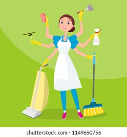 Many-Armed Cleaner Female Cleaning Servise