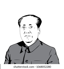 Mao Tse-tung (1943 – 1976), father of the People's Republic of China, ,  Mao Zedong vector image.