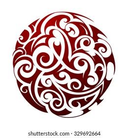 Maori ethnic circle tattoo shape