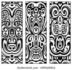 Maori ethnic ornaments set. Good for male and female tribal tattoo ink and for elegant prints as well