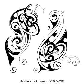 Maori ethnic tattoo shapes