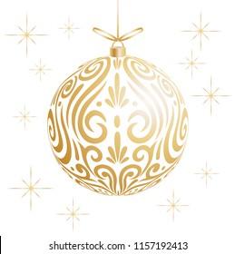 Maori koru gold xmas bauble decoration ball for Christmas tree